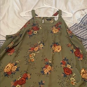 Olive Green tank top with flowers
